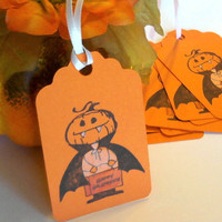 SALE Halloween Treat Gift Tags Little Pumpkin Vampire Orange Set of 8