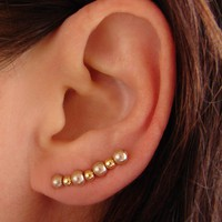 Ear Pins - Champagne Gold Glass Pea.. on Luulla