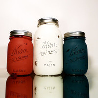 USA Red, White, Blue Painted Mason Jars - Vase - Shabby Chic and Distressed