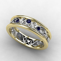 Blue sapphire ring, Two tone gold, Filigree ring, wedding band, Sapphire, Blue wedding band, yellow gold, White gold, Unique, vintage style