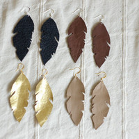 Native Feather Earrings Brown Leather Limited by StillWithYou