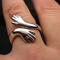 Healing hands Sterling silver ring