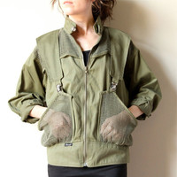 80s Designer Military Jacket, olive green army fatigue cropped mesh pockets, straps & buckles