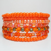 Memory Wire Bracelet Neon Orange Stacking Bracelet