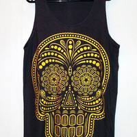 Skull Shirt -- Day Of The Dead Art Skull T-Shirt Gold Screen Print Shirt Women Tank Top Singlet Tunic Vest Sleeveless Black T-Shirt Size M