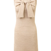 Bow Front Textured Bodycon Dress-Beige