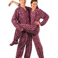 Amazon.com: PajamaCity Pink Leopard Print Drop Seat Polar Fleece Feetie Pajamas for Teens and Adults: Clothing
