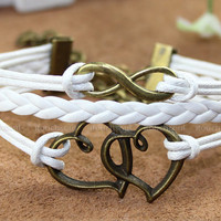 True love bracelet - bronze bracelet double heart bracelet, unlimited bracelet leather rope bracelet, the best gift to a friend