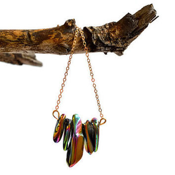 Rainbow titanium quartz necklace, gold statement necklace, long gold necklace, gold gemstone necklace, quartz necklace