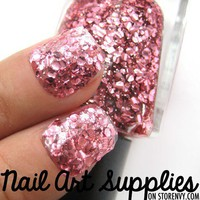 Pink Mermaid - Light Pink Sparkly Glitter Nail Polish Laquer 9.8ml from nailartsupplies