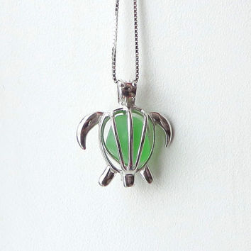 Sea Glass Turtle Locket Maris Stella Green Sterling Silver Honu