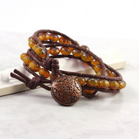 Topaz Beaded Wrap Bracelet Boho Earthy Brown Honey Gold Fall Fashion Amber Bohemian Style Double Wrap