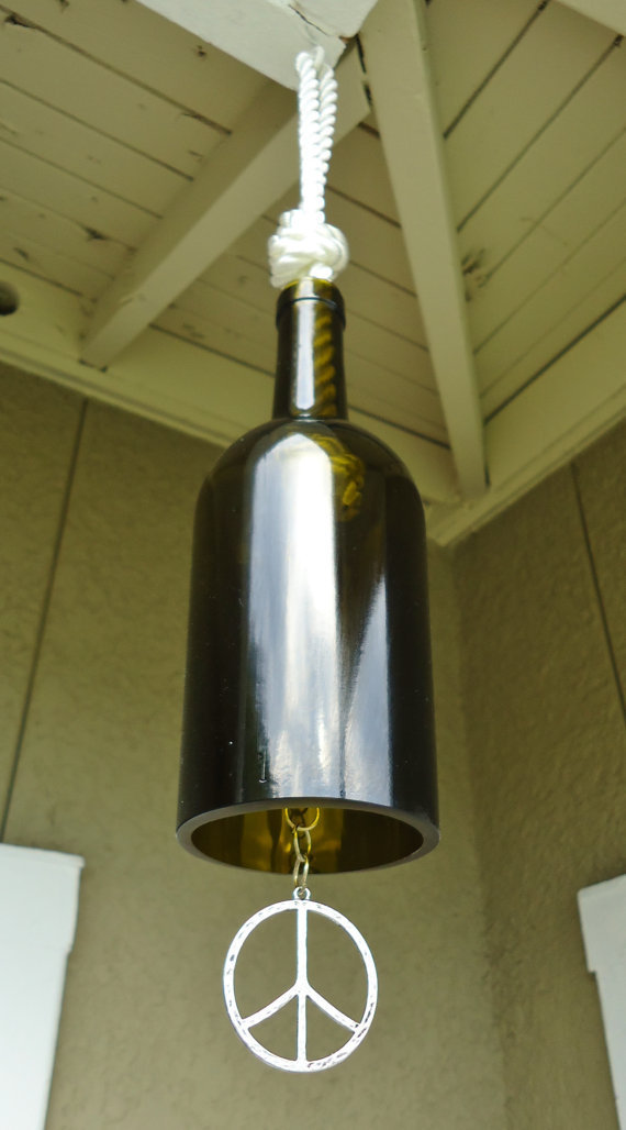 Recycled wine bottle wind chime with from conversationglass on for Glass bottle wind chimes