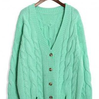 Mint Green Long Sleeve Cable Knit Cardigan