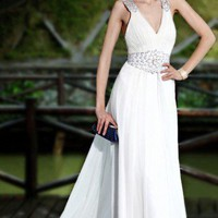 Elegant wedding dress beaded Floor Length Evening Dress long sweep | mydresses - Wedding on ArtFire
