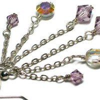 Light Purple Swarovski Crystal and Sterling Silver Chain Earrings
