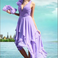 Lilac Bridesmaid gown Wedding Cocktail dress Party Dress asymmetrical | mydresses - Wedding on ArtFire