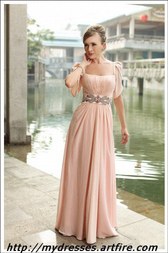 Pink prom dress Floor-length Cap-sleeve elegant evening dress | mydresses - Wedding on ArtFire