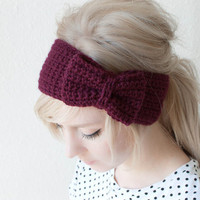 crochet bow headband in burgundy