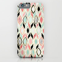 Patchwork Pattern in Coral, Mint, Black & White iPhone & iPod Case by Micklyn
