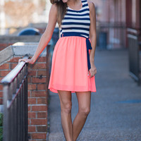 Drift Away Dress, Neon Coral