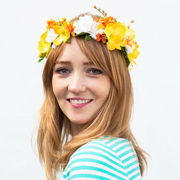 Golden Sunshine Flower Crown - Yellow, Orange, Floral Crown, Flower Headpiece, Tropical, Flower Crowns, Festival Style 2015, Hippie