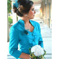 Sparkly Turquoise Peacock Hair Clip / Comb / Bobby Pin. Formal Event Feather & Pearl / Rhinestone Accessory. Feminine Girly Teen Homecoming