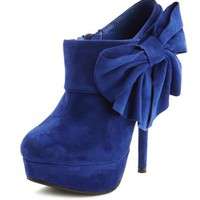 Sueded Side-Bow Ankle Bootie: Charlotte Russe