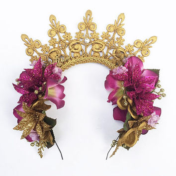 Mardi Gras Headpiece - Purple and Gold Flower Crown, Mardi Gras Flower Crown, Mardi Gras, Crown, Headband, New Orleans, Costume, Crown