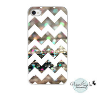 "iPhone 4&4s Hard Case - Chevron Pattern Glitter Bokeh Wood Texture - Fine Art Abstract Photography - ""Afterparty Chevron"""