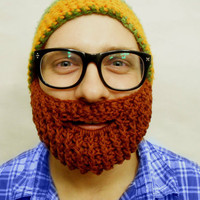 Crochet Beard Face Warmer Redhead from With Love From Lucille