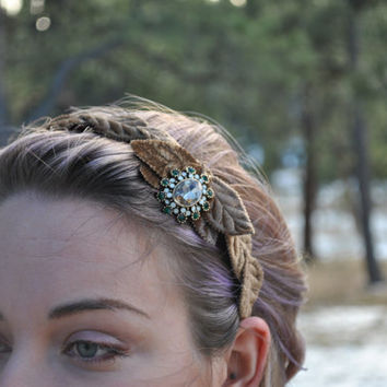 velvet headband with gold brown velvet leaves and upcycled green rhinestone embellishment.