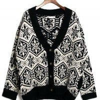 Snowflake Pattern Fairisle Cardigan in White/Black - Retro, Indie and Unique Fashion