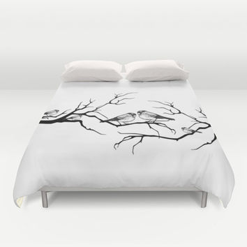 Family birds Duvet Cover by Haroulita