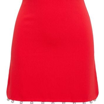 Crepe Skirt with Pearl Embellishment - ADAM SELMAN