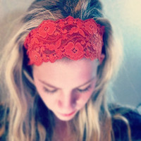 Autumn Orange - Thick Lace Headband