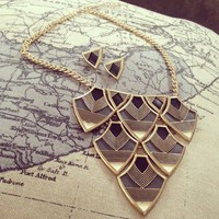 Art Deco Shield With Leather Inlay Necklace Set  from Papers & Peonies