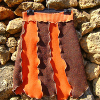 Upcycled Skirt  Asymetrical Orange Brown Autumn Colors SMALL- MEDIUM