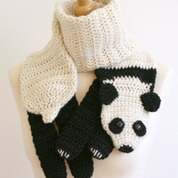 PDF Crochet Pattern for Panda Bear Scarf - DIY Fashion Tutorial