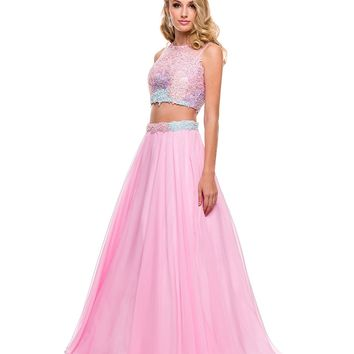 Pink Floral Chiffon Two Piece Gown 2015 Prom Dresses