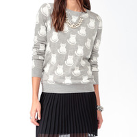 Longline Ditsy Feline Sweater