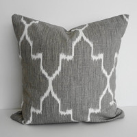 IKAT Moroccan Silver Grey Decorative Pillow Cover, Gray, 16 x 16