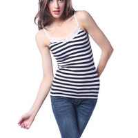 Papaya Clothing Online :: STRIPED LACY NECK TANK TOP