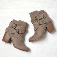 AEO Double Wrap Bootie, Taupe | American Eagle Outfitters