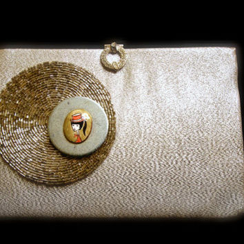 Vintage 1960s Purse Silver Clutch Upcycled with Vintage Girl Earring, Coaster and Washer
