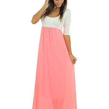 Neon Pink And White Maxi Dress