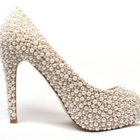Pearl Peep Toe High Heel Shoes Any Size or Colour Bridal & Bridesmaid Evening Shoes