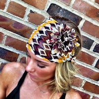 Mustard HEADBAND Brown Tribal Head band Chiffon Head Scarf Women's Wide Hair Band urban turban head bands