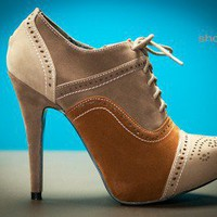 Wild Rose Genny-01 Tri Tone Lace Up Oxford Bootie (Camel) - Shoes 4 U Las Vegas