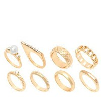 River Island Gold Mega And Pearl Ring Pack at asos.com